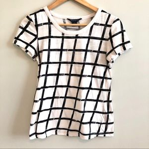 French Connection White Checkered Tee Shirt